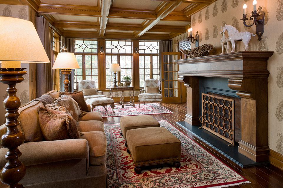 living room with hand built fireplace