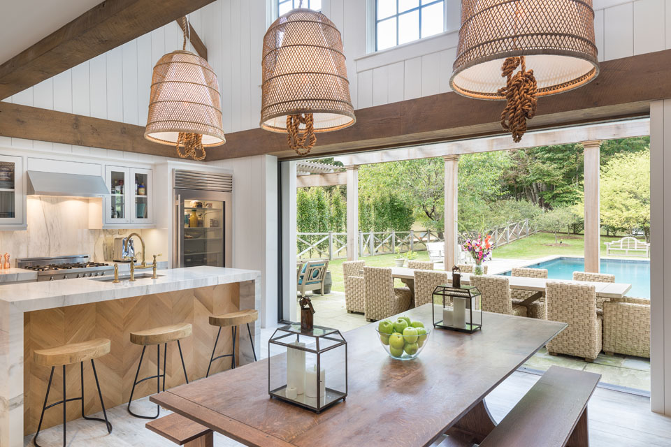 Kitchen with view of pool