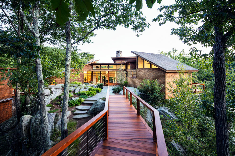 Walkway to contemporary house