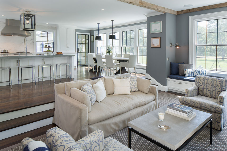 Family room with kitchen in background
