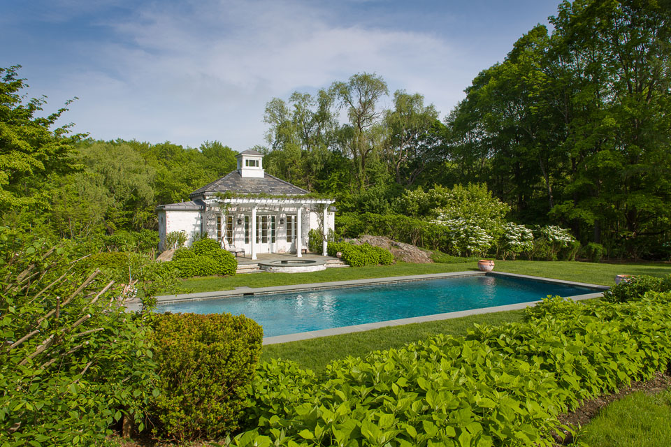 Gardens, pool, and pool house
